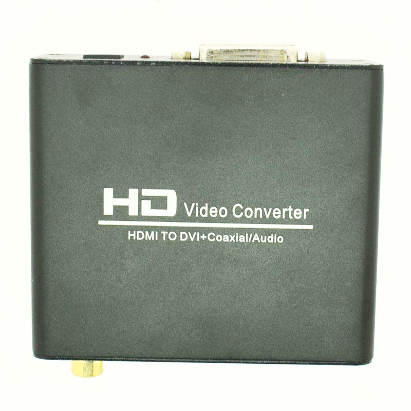 HDMI to DVI coaxial Audio video Converter connector adapter black free shipping(China (Mainland))