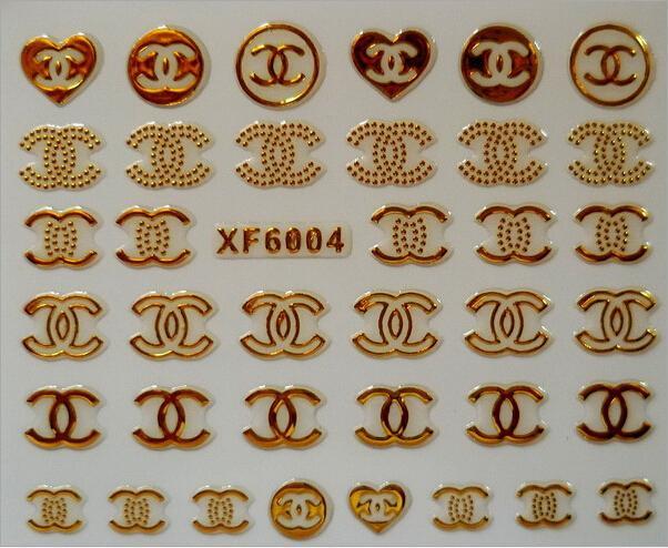 XF6004 1 Sheet Fashion Brand Logo 3D DIY Decoration Tips Nail Art Nail Sticker Manicure Nail Decal Nail Tools(China (Mainland))