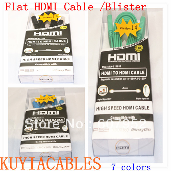 Free shipping High speed 1.5M flat HDMI cable 1.4V with Ethernet,3D&blue ray already For Sony HDTV PS3 XBOX360 blister package(China (Mainland))