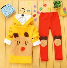 Hot sell Girls sweater kids suits Long Hoodie The fashion leisure,Warm kids pantsuits for 2-9 old(China (Mainland))