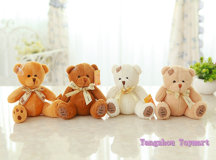 18CM Four Color Plush Teddy Bear Toy Small Soft Toys Bear with Bowknot and Scar Bear(China (Mainland))