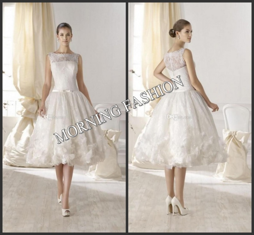 Morning fashion dress wedding gown vintage applique hand for How to dress for a morning wedding