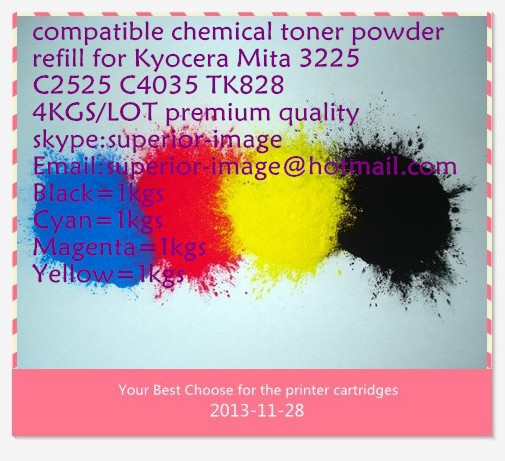Hot selling!Compatible Kyocera Mita 3225 C2525 C4035 TK828 chemical color toner powder,K/C/M/Y,4KG/LOT,Free shipping!(China (Mainland))