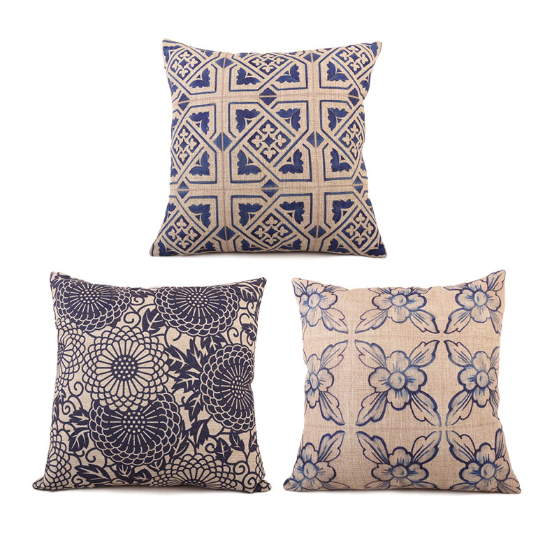 High Quality Blue and White Porcelain Chinese Traditional Style Linen Cotton Square Cushion Cover For Sofa Car Home Pillow Case(China (Mainland))