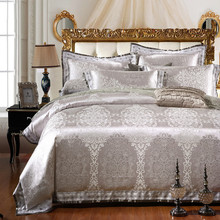 6/4 pcs/ set Luxury Satin Jacquard bedding set Queen size Silver bed sheet set double duvet cover bed set linen(China (Mainland))