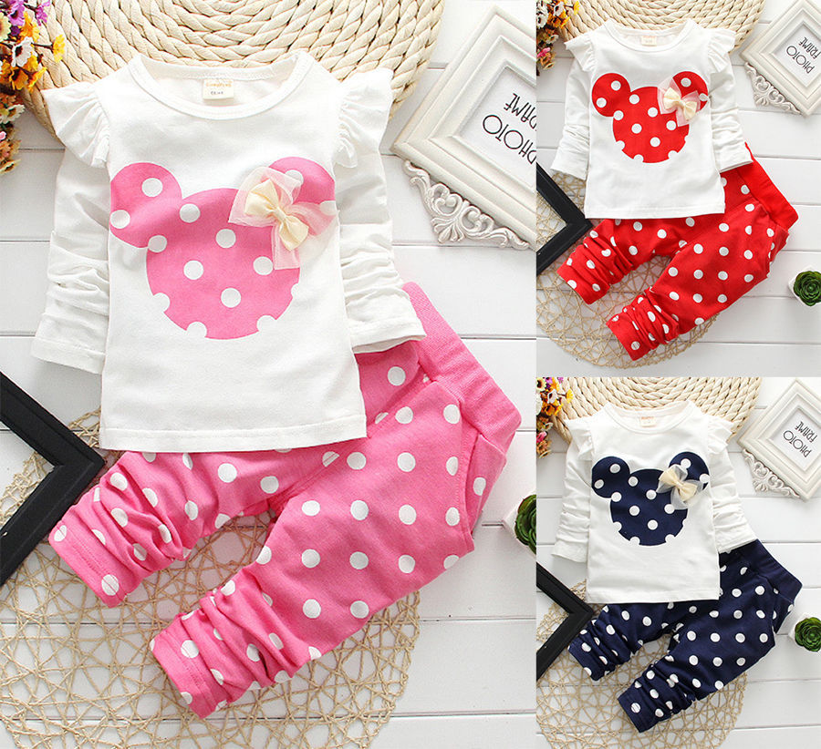Hot Baby Girls Kids Mickey Mouse Minnie Outfit Cartoon T-shirt Tops+Pants Outfits Clothes Toddler Girl Kids Clothing Set fille(China (Mainland))