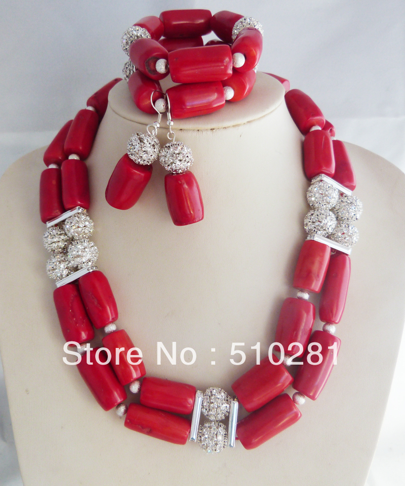 free shipping! New Design African Wedding Red Coral Drum jewelry set coral necklace bracelet earring set(China (Mainland))