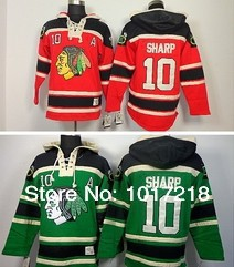 Fans Chicago Blackhawks 10 Patrick Sharp Hoodies Red Patch ice Hockey Sweatshirts Jersey Green CCM Old Time
