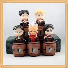 Japanese Anime Figures Attack On Titan 11cm 5pcs Pvc Cartoon Action Figures Hot Toys Kids Gifts Collection Model