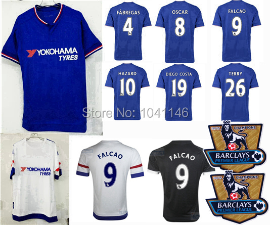 Top!Thai 15 16 Chelsea Soccer Jersey 2015 2016 FC DIEGO COSTA FABREGAS FALCAO OSCAR HAZARD away white black football shirts(China (Mainland))