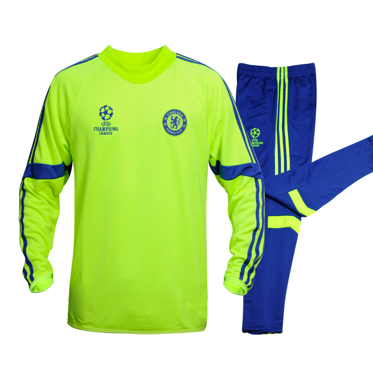 Chelsea tracksuit 2015 survetement football Chelsea training suit Jacket pants chandal Champion League Chelsea soccer tracksuit(China (Mainland))
