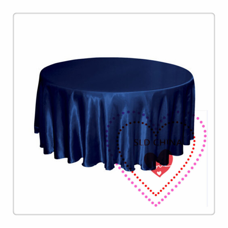 LOT OF 10 navy blue SATIN 70inch ROUND tablecloth to table party decorations lilac(China (Mainland))