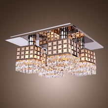 Stainless Modern Crystal Ceiling Light Fixture Flush Mount Gein Pattern with 4 Lights for Living Room, Hallway, Bedroom(China (Mainland))