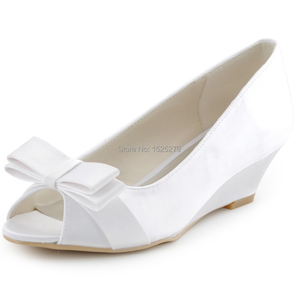 All White Wedge Heels Shoes