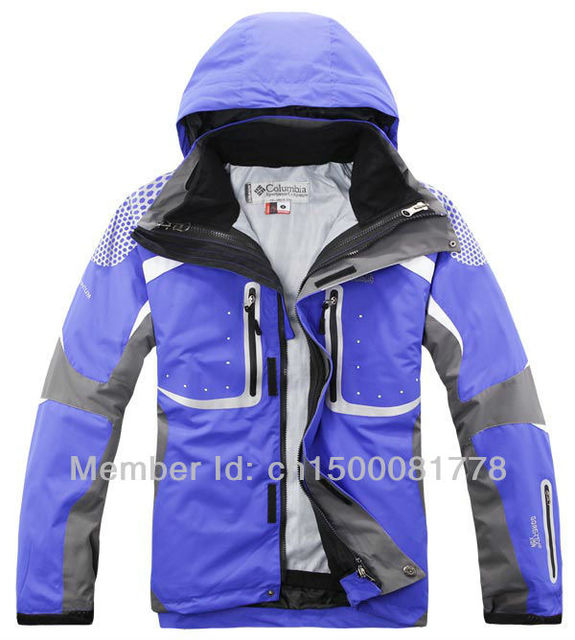 Free shipping men's jacket coat, windproof warm winter outdoor ski mountaineering clothing, blue, size s-xxl