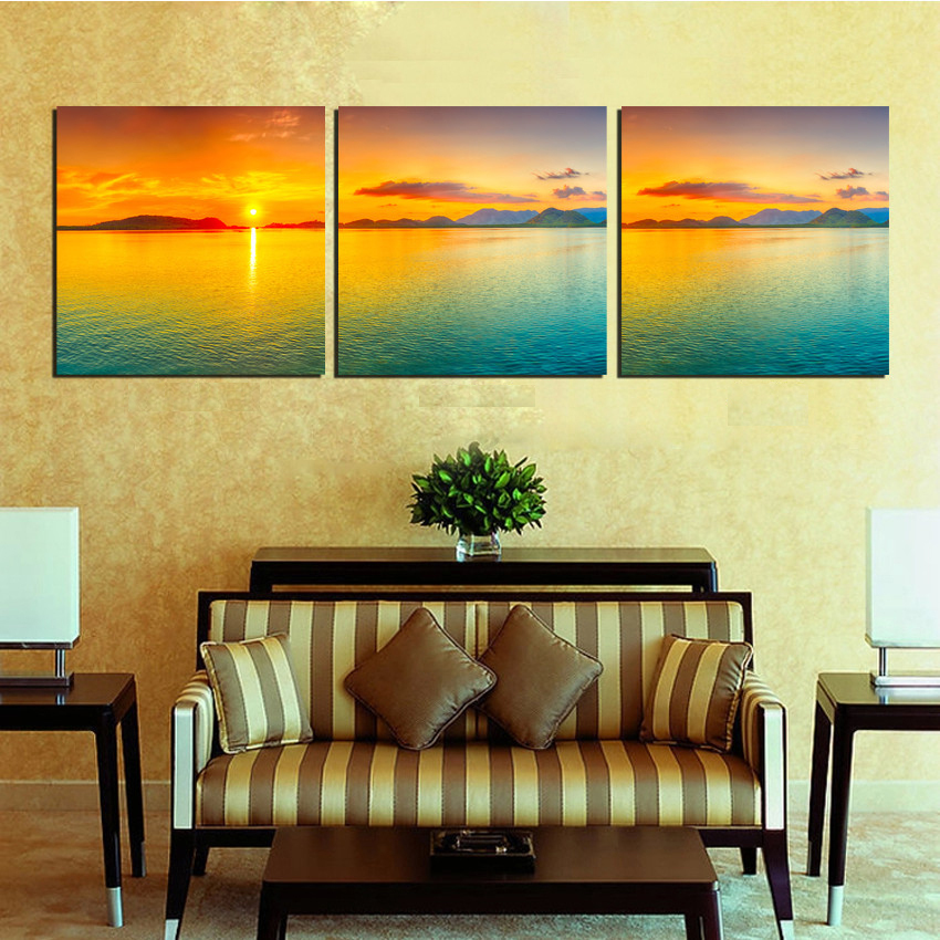 3 Piece Free Shipping Wall Art Picture Modern Sunrise Beach Seaview ...