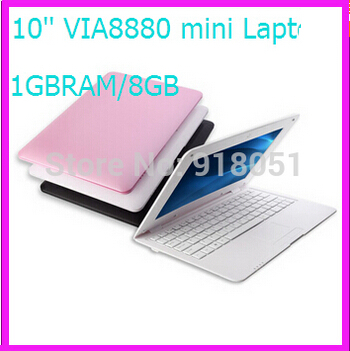 Free shipping Wholesale New Arrival Mini 10 inch laptop Computer Netbook with VIA 8880 1GBRAM, 8GB Storage, Android 4.2 laptop(China (Mainland))