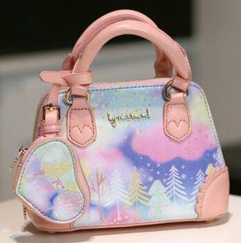 Mini bag clouds rainbow printing colorful painting cute sweet princess Lolita diagonal shoulder bag messenger bag