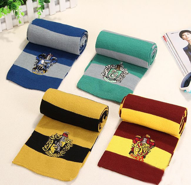 ^ 17X170CM New Fashion 4 Color College scarf Harry Potter Gryffindor Series scarf With Badge Personality Cosplay Knit Scarves(China (Mainland))
