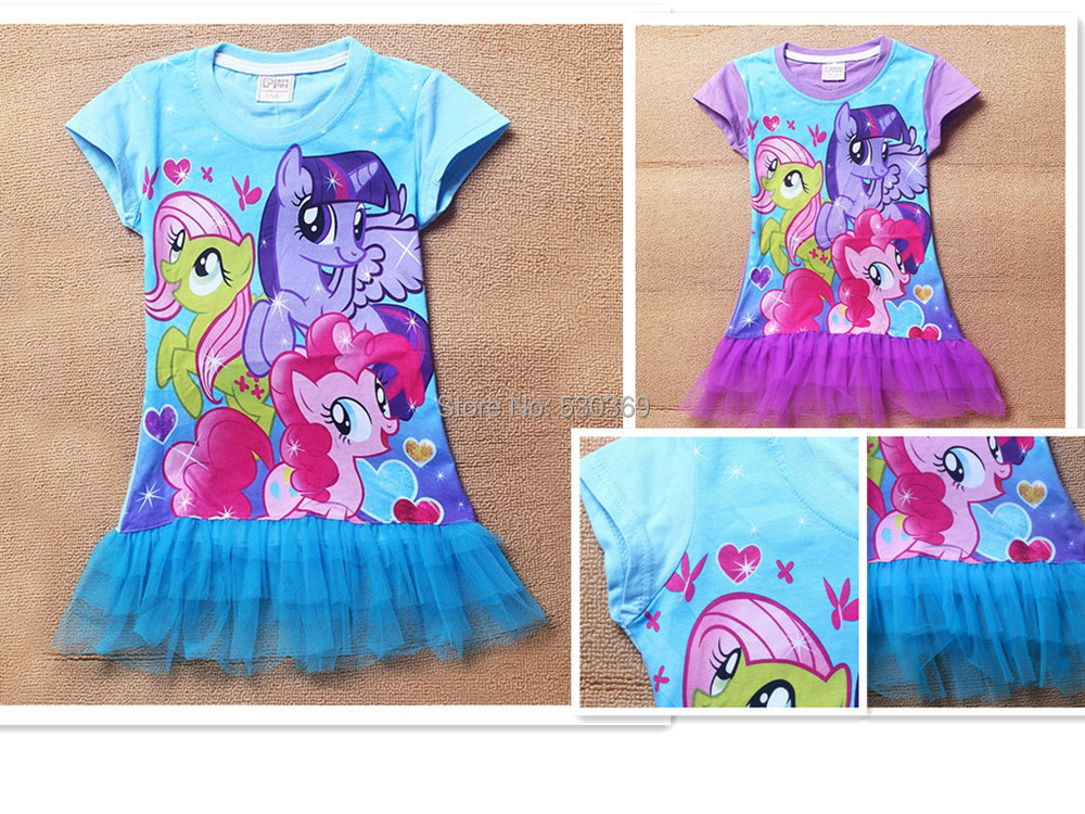 2015 hot beautiful cartoon girl's dress fashion little Horse printed blue purple cotton summer princess dresses - Lovely Angel's store