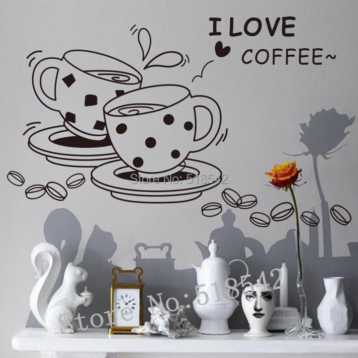 Free Shipping:3D DIY Fashion Vinyl Wall Quotes Letter Decals/Black I Love Coffee Restaurant Storefront Kitchen Wall Sticker(China (Mainland))