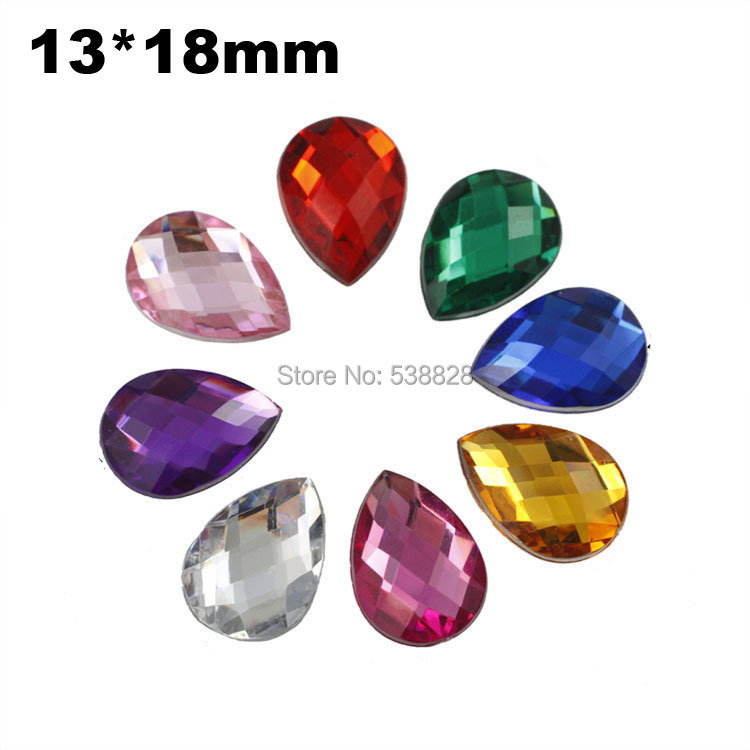 500pcs 13*18mm DIY Phone Bags Garments Accessories Flatback Faceted Waterdrop Acrylic Rhinestone Beads No Hole(China (Mainland))