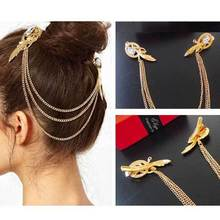 Hair Accessories  Clips For Hair Fashion Retro Gold Gemstone Angel Feather Hair Barrette Clip Feather Headband For Women(China (Mainland))