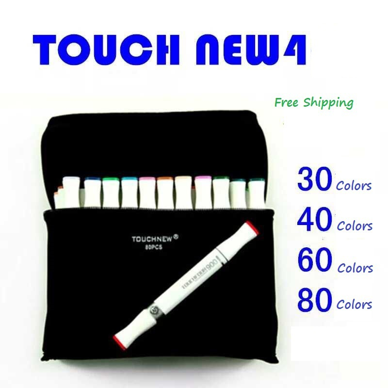 Free shipping Full Set - Art TOUCHMARKER 4S TWIN manga Markers pen Color 80/60/40/30 Twin tips drawing caneta capinhas(China (Mainland))