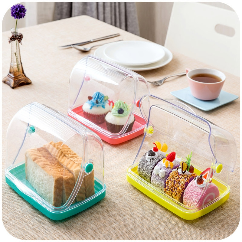 Creative sliced bread toast food dust crisper, kitchen cutlery chopsticks spoon plastic storage box(China (Mainland))