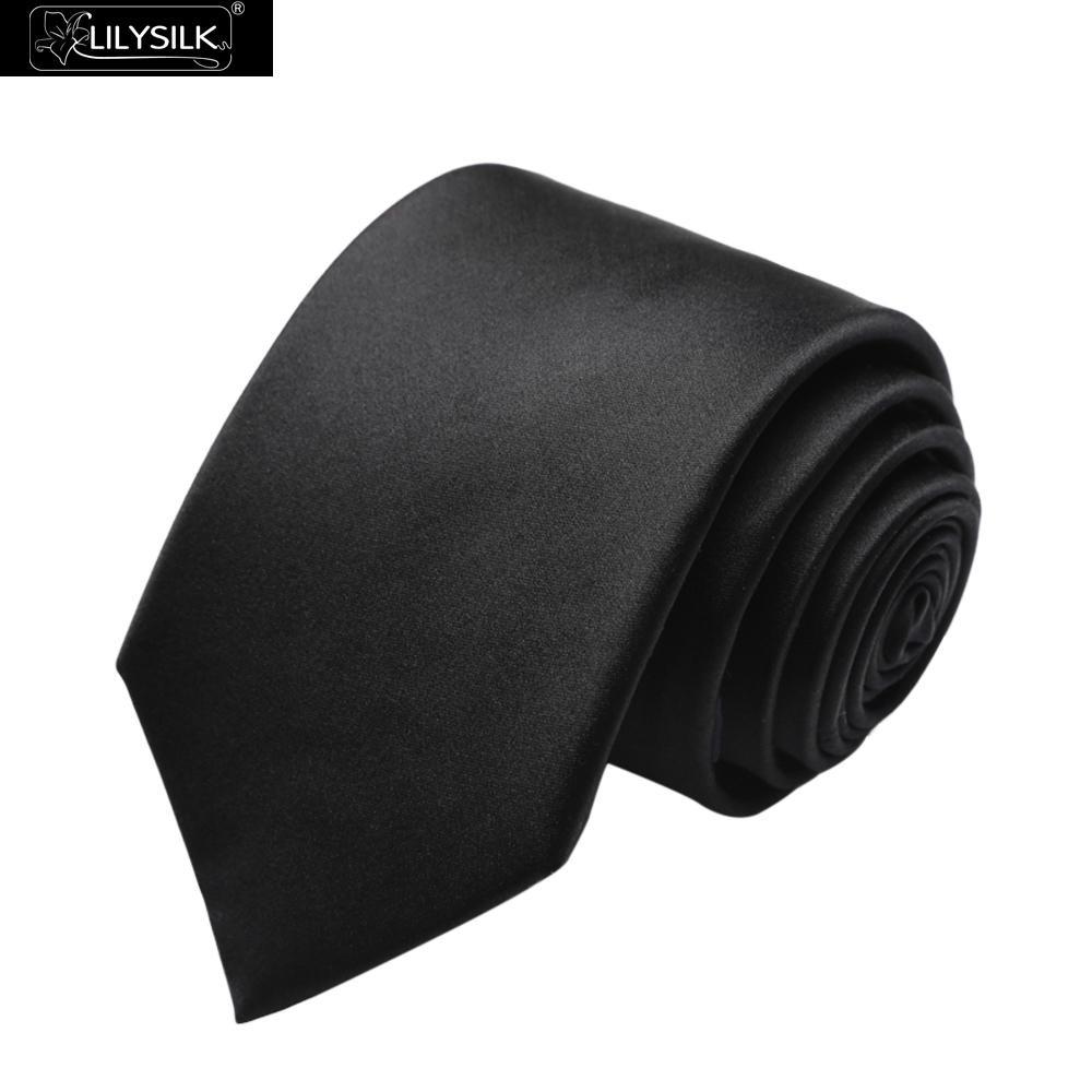 Lilysilk Ties & Handkerchiefs Silk Ties Mens Luxury Brand Necktie Solid Black Twill Male Business Accessories Wedding Formal