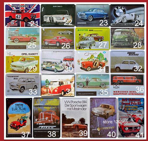 Vintage mixed metal Tin Signs 40pcs/set or 60pcs/set art wall painting Bar Sofa Home Retro wall decoration 20*30CM Free shipping(China (Mainland))