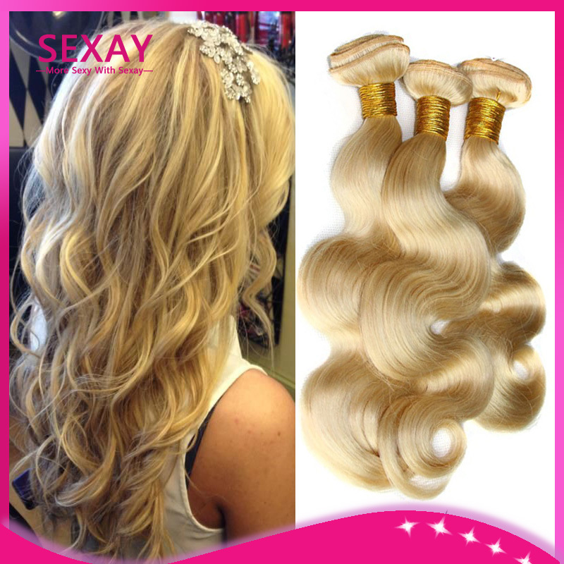7A Unprocessed Virgin Hair Light Blond Remy Human Hair 613 Blonde Body Wave Hair Weave Extensions Snow White Virgin Hair Weft(China (Mainland))