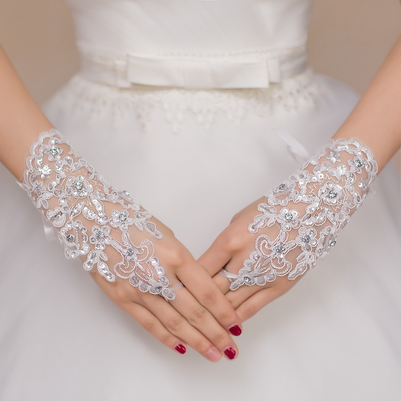Free Shipping New Hot Sale Fashion White Ivory Pearl Lace Wedding Bride Bridal Gloves Ring Bracelet