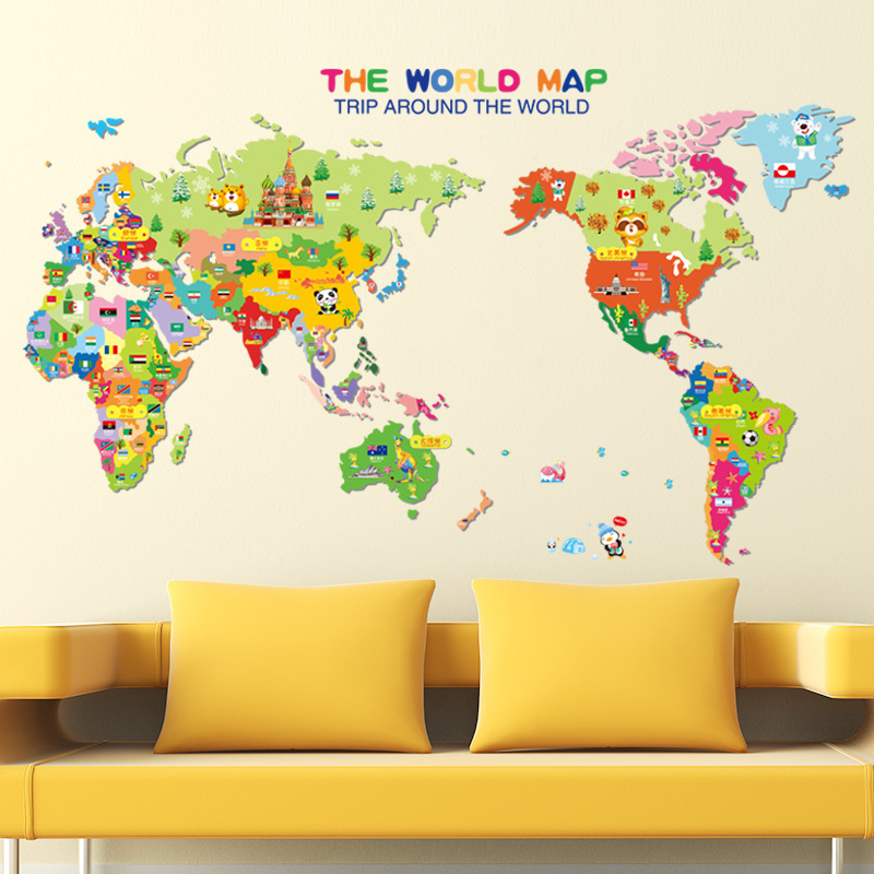 Cartoon Animal World Map Kindergarten Children adornment XL7123 Kids Bedroom Decor PVC Decal Mural Art Office Wall Art