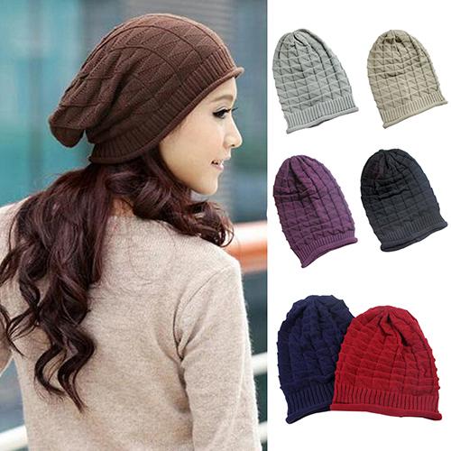 Rhombus Pattern Tricorne Knit Winter Warm Crochet Hat Braided Baggy Beret Beanie Cap(China (Mainland))