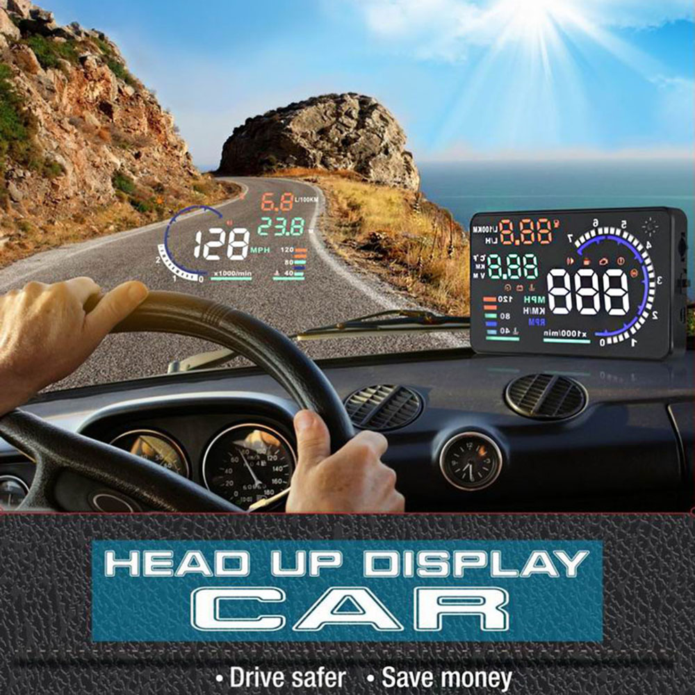 """KKMOON 5.5"""" Auto Car HUD Head Up Display KM/h & MPH Speeding Warning Windshield Project System with OBD2 Interface Plug & Play(China (Mainland))"""