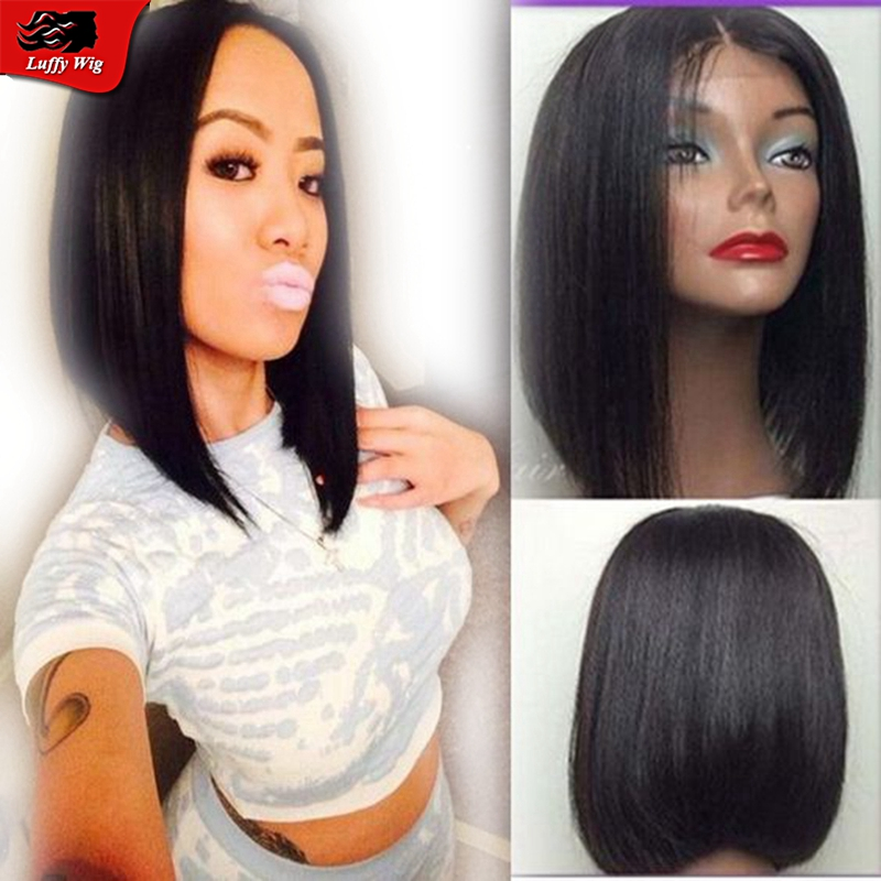 Brazilian Virgin Human Hair Lace Front Wig Glueless Short Bob Full Lace Wig Straight With Middle Part For Black Women Free Ship<br><br>Aliexpress