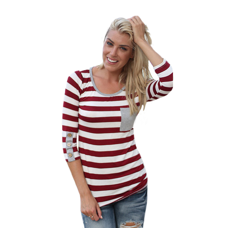 Popular red white striped tops buy cheap red white striped for Burgundy long sleeve t shirt womens