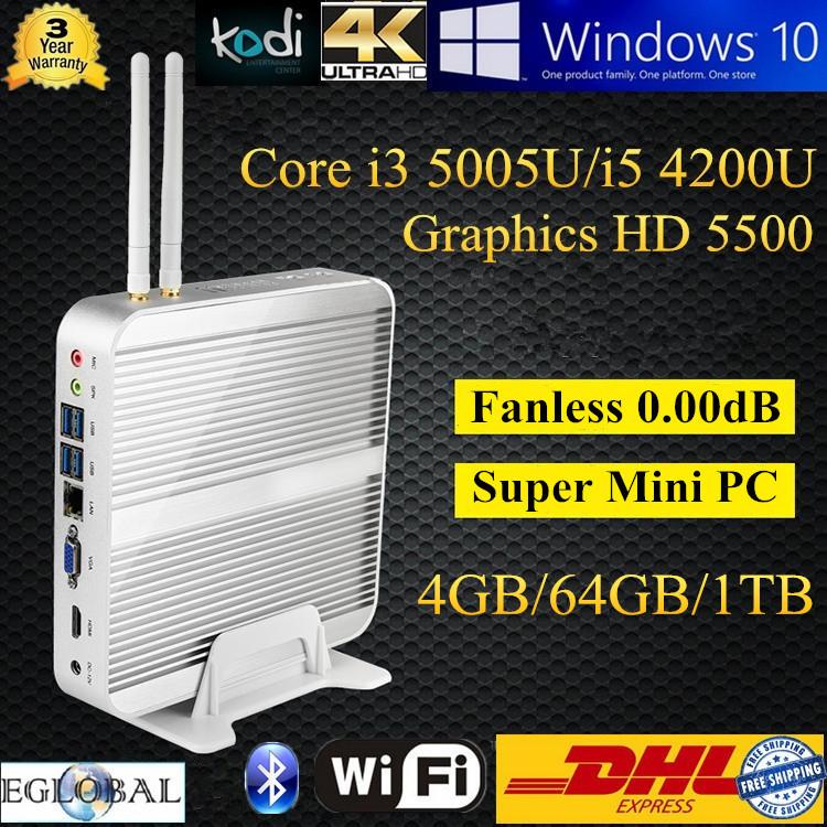 Intel Core I5 Mini Nettop Ultra Mini Computer With 4GB DDR3L 64GB SSD 1TB HDD Support Ubuntu Linux ITX Aluminum Case 4K HD Umpc(China (Mainland))