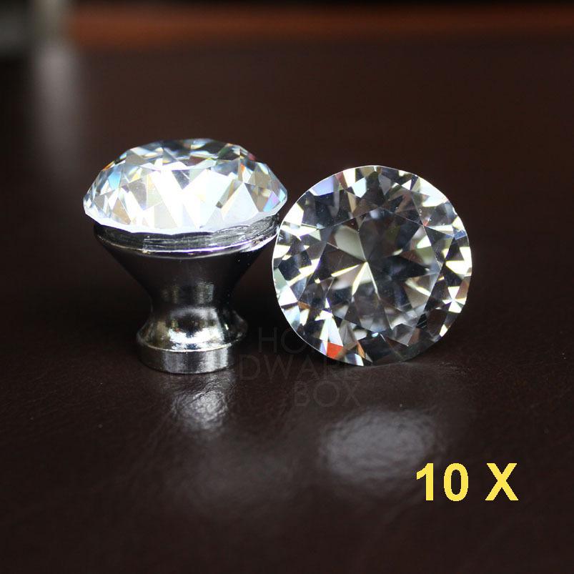 "10 pc crystal drawer knobs 30mm dresser handle pull glass diamond 1.25"" kitchen cabinet(China (Mainland))"