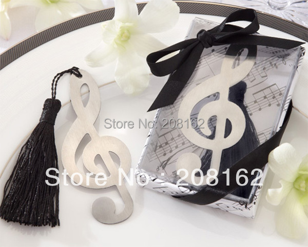 Hollow Musical Notes Bookmarks Metal With Mini Greeting Cards Tassels Pendant Gifts Wedding Favors With Retail Box(China (Mainland))