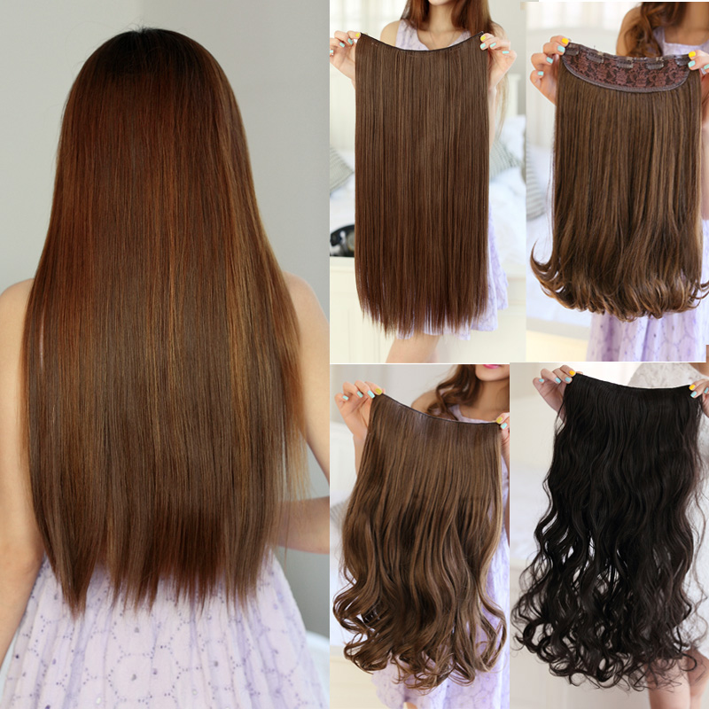 2015 Direct Selling 1 Pieces/lot Clip-in Hair Piece Wig A Chip Card Five Long Straight Extensions Can Be Straightened Hot Roll(China (Mainland))