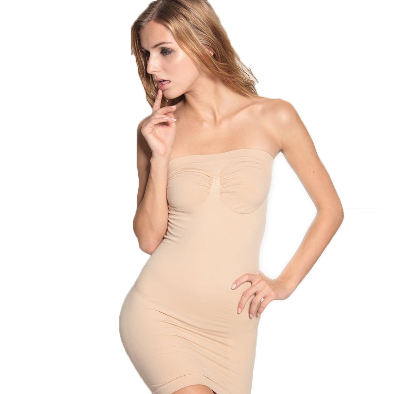 Slimming Body Shaper Dress Adjustable Underwear Control Slips Full Slips Tube Dress Slip Boob Tube Shapewear Bodycon Lady Girl(Hong Kong)