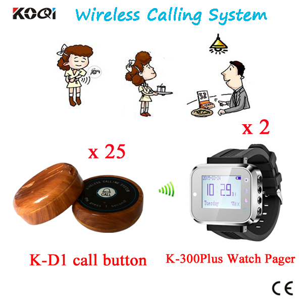 Restaurant Wireless Ordering System Waiter Server Paging 2 Watches Receiver + 25 Table Button By DHL/EMS Free Shipping(China (Mainland))