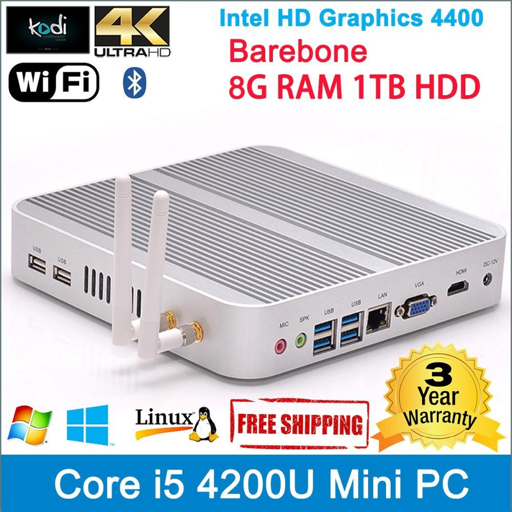 Computadors intel core i5 mini sever DDR3 RAM 8G 1TB HDD 1.6-2.6GHz HDMI+VGA support 4K+1080P resolution USB 3.0+blurtooth(China (Mainland))