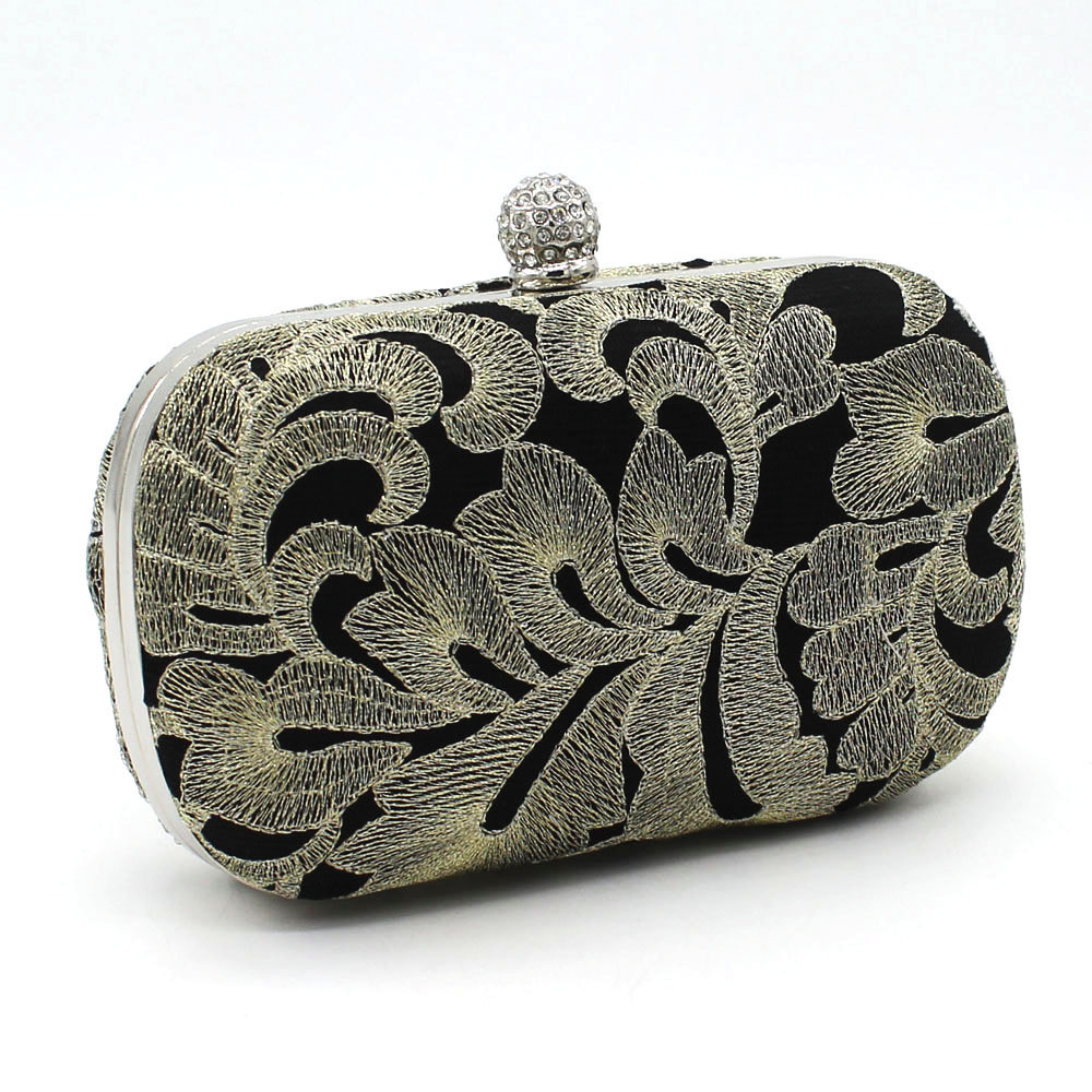 Women Ethnic Clutch Evening Bags Handmade Clutch Floral Embroidered Clutch Small Chain Shoulder Cross-body Messenger Bags A6900(China (Mainland))