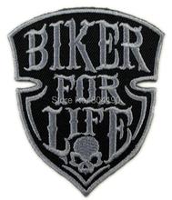 "3"" BIKER FOR LIFE Hog Rockers Racer Chopper Outlaw MC Motorcycle Biker Vest Patch Embroidered IRON ON Biker Vest Badge(China (Mainland))"