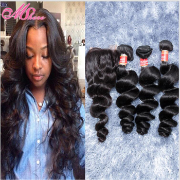 7A Rosa Hair Peruvian loose wave lace closure with bundles100% Virgin Peruvian body wave 4pcs human hair bundles with closure