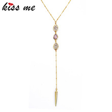 Buy New Arrival Gold Color Rivet Pendant Necklace Fashion Jewelry Summer Long Women Necklace Birthday Gift for $1.79 in AliExpress store