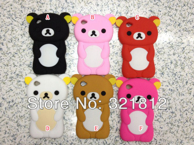 Bear Rilakkuma Style 3D Cute Lovely Soft silicone case for Apple Ipod touch 6 6g 5 5th 5g cases cover skin 200pcs Free shipping(China (Mainland))